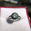 1.30ctw Old European Cut Diamond Emerald Target Ring 8