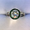1.30ctw Old European Cut Diamond Emerald Target Ring 5