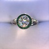 1.30ctw Old European Cut Diamond Emerald Target Ring 6