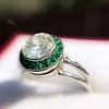 1.30ctw Old European Cut Diamond Emerald Target Ring 30