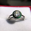 1.30ctw Old European Cut Diamond Emerald Target Ring 14