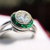 1.30ctw Old European Cut Diamond Emerald Target Ring 29