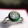 1.30ctw Old European Cut Diamond Emerald Target Ring 33
