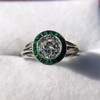 1.30ctw Old European Cut Diamond Emerald Target Ring 24