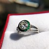 1.30ctw Old European Cut Diamond Emerald Target Ring 11