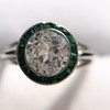 1.30ctw Old European Cut Diamond Emerald Target Ring 32