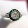 1.30ctw Old European Cut Diamond Emerald Target Ring 26