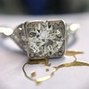 1.31ctw Art Deco Transitional Cut Diamond Ring 12