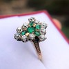 1.35ctw Antique Emerald and Diamond Ring 14