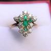 1.35ctw Antique Emerald and Diamond Ring 7