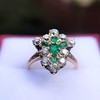 1.35ctw Antique Emerald and Diamond Ring 11