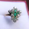 1.35ctw Antique Emerald and Diamond Ring 8