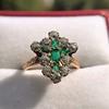 1.35ctw Antique Emerald and Diamond Ring 29
