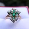 1.35ctw Antique Emerald and Diamond Ring 10
