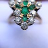 1.35ctw Antique Emerald and Diamond Ring 18