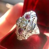 1.35ctw Diamond and Ruby Filigree Ring 12