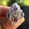 1.35ctw Diamond and Ruby Filigree Ring 6