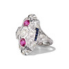 1.35ctw Diamond and Ruby Filigree Ring