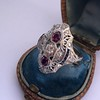 1.35ctw Diamond and Ruby Filigree Ring 20