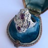 1.35ctw Diamond and Ruby Filigree Ring 18