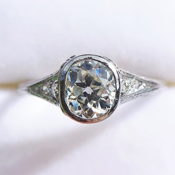 rnd stg tension shaped ring solitaire bezel w diamond set engagement round platinum item rings