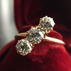 1.38ctw Antique Old European Cut Diamond 3-Stone Ring 0