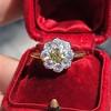 1.38ctw Fancy Golden Brown Old European cut Diamond Cluster Ring 15