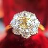 1.38ctw Fancy Golden Brown Old European cut Diamond Cluster Ring 10