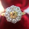 1.38ctw Fancy Golden Brown Old European cut Diamond Cluster Ring 4