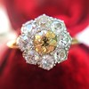 1.38ctw Fancy Golden Brown Old European cut Diamond Cluster Ring 5