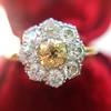 1.38ctw Fancy Golden Brown Old European cut Diamond Cluster Ring 8