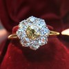 1.38ctw Fancy Golden Brown Old European cut Diamond Cluster Ring 14