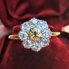1.38ctw Fancy Golden Brown Old European cut Diamond Cluster Ring 11