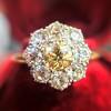 1.38ctw Fancy Golden Brown Old European cut Diamond Cluster Ring 9