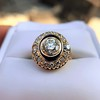 1.40ct Transitional Cut Diamond Halo with Enamel Ring, GIA I VS2 34