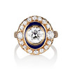 1.40ct Transitional Cut Diamond Halo with Enamel Ring, GIA I VS2 0