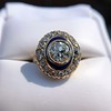 1.40ct Transitional Cut Diamond Halo with Enamel Ring, GIA I VS2 22