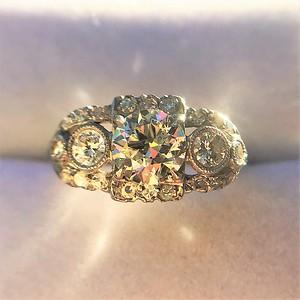 1.40ctw Art Deco Old European Cut Diamond Trilogy Ring