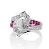 1.42ctw Emerald Cut and Ruby Art Deco Fancy Ring 1