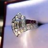 1.42ctw Emerald Cut and Ruby Art Deco Fancy Ring 7