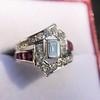 1.42ctw Emerald Cut and Ruby Art Deco Fancy Ring 5