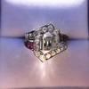 1.42ctw Emerald Cut and Ruby Art Deco Fancy Ring 28