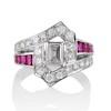 1.42ctw Emerald Cut and Ruby Art Deco Fancy Ring 0