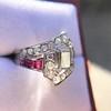 1.42ctw Emerald Cut and Ruby Art Deco Fancy Ring 29