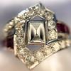 1.42ctw Emerald Cut and Ruby Art Deco Fancy Ring 18
