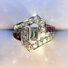 1.42ctw Emerald Cut and Ruby Art Deco Fancy Ring 10
