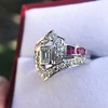 1.42ctw Emerald Cut and Ruby Art Deco Fancy Ring 12