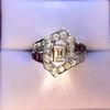1.42ctw Emerald Cut and Ruby Art Deco Fancy Ring 9
