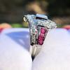 1.42ctw Emerald Cut and Ruby Art Deco Fancy Ring 26