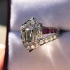 1.42ctw Emerald Cut and Ruby Art Deco Fancy Ring 11